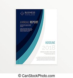 annual report cover template brochure design with blue lines wave