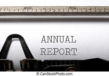 Annual report heading printed on a typewriter