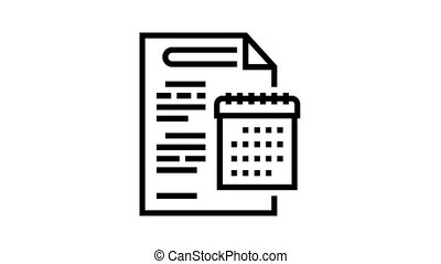 annual report animated black icon. annual report sign. isolated on white background