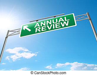 Annual review concept. - Illustration depicting a sign with...