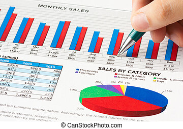Annual sales report - Closeup of pen showing on sales report...