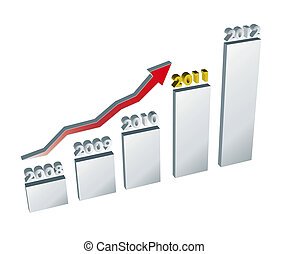 Annual trend chart - 3D illustration on white
