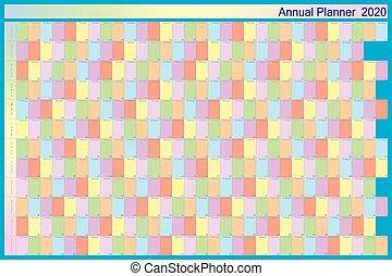 annuale, ciascuno, calendario, blu, pastell, 2020, collors, ...