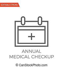annuale, medico, controllo, vettore, icona