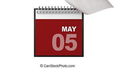 annualmente, calendario, animazione
