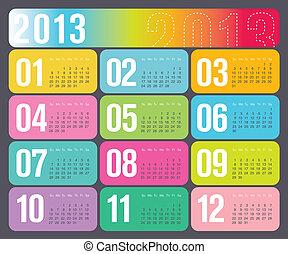 annualmente, calendario, disegno, 2013