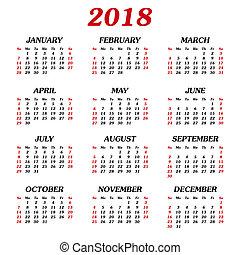 annuel, calendrier, 2018