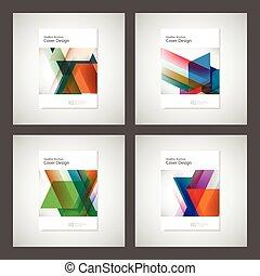 annuel, géométrie, magazine, couverture, ou, rapport, ...