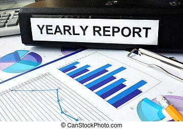 annuellement, dossier, rapport, étiquette