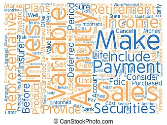 Annuities for Retirees What to Consider Before You Invest Word Cloud Concept Text Background