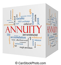 annuity, 3d, cubo, palabra, nube, concepto