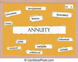 Annuity Corkboard Word Concept