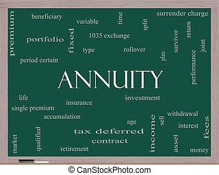 annuity, palavra, nuvem, conceito, ligado, um, quadro-negro