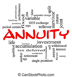annuity, wort, wolke, begriff, in, rotes , kappen