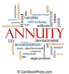 annuity, wort, wolke, begriff