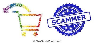 annuler, géométrique, caoutchouc, scammer, cachet, achats, ordre, multicolore, collage, timbre
