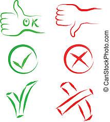 annuler, ok, signes
