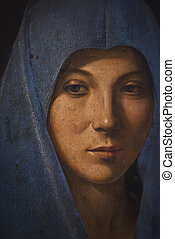 "detail of the ""Annunciata"" by Antonello da Messina, 1476. Abatellis palace, Palermo, Sicily"