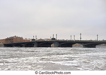 Annunciation bridge at cloud winter day.