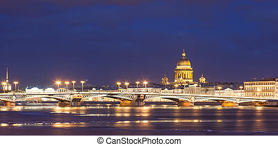 Annunciation bridge, St. Isaac's Cathedral, night Saint- Petersburg, Russia