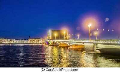 Annunciation Bridge, the drawbridge, the bridge on the river Neva, Saint Petersburg, Russia.