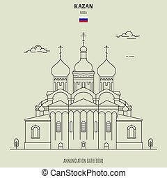 Annunciation Cathedral in Kazan, Russia. Landmark icon in linear style