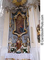 Annunciation of the Virgin Mary, altar in Maria Vesperbild Church in Ziemetshausen, Germany