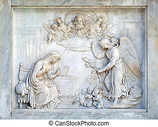 Annunciation of the Virgin Mary on the Column of the Immaculate Conception on Piazza Mignanelli in Rome, Italy