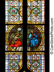 Annunciation of the Virgin Mary, stained glass in Zagreb cathedral