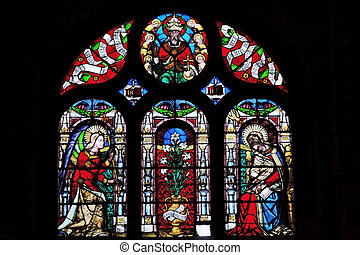 Annunciation of the Virgin Mary, stained glass window in Saint-Eustache church in Paris, France