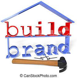 annuncio, affari, marca, costruire, promozione, attrezzi