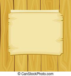 annuncio, assi, legno, illustrazione, vettore, cartone ...