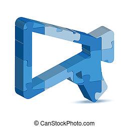 annuncio, puzzle, icona
