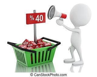 annuncio, shopping, vendita, basket., uomo, megafono, 3d