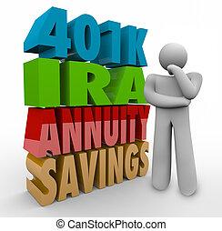 annunity, pensamiento, inversión, 401k, persona, ahorros, ira, opciones, estafar
