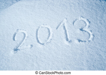 ano, 2013, escrito, em, a, neve