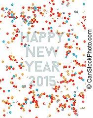 ano, 2015, fundo, novo, confetti, partido, feliz