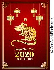 ano, 2020, 3, chinês, novo