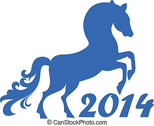 ano, cavalo, chinês, 2014.