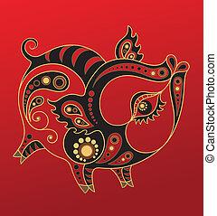 ano, chinês, horoscope., porca