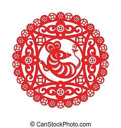 ano, chinês, ornamento, rato, novo