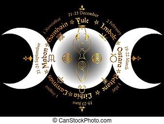 ano, compasso, anual, deusa, wiccan, calendário, festivals., celta, nomes, ouro, sazonal, ciclo, lua, deusa, espiral, fertilidade, pagão, holidays., triplo, roda, wicca, solstices