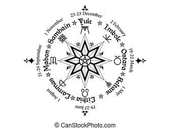 ano, compasso, anual, wiccan, calendário, muitos, celta, nomes, símbolo, pagans., sazonal, ciclo, observado, holidays., festivais, meio, modernos, roda, pentagram, solstices
