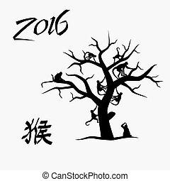 ano, de, macaco, com, símbolo, para, macaco, e, macaco, árvore, eps10