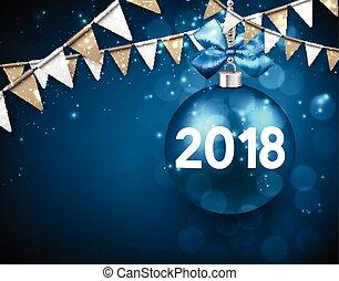 ano, experiência., novo, 2018, azul