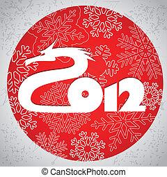 ano, feliz, dragão, 2012., novo
