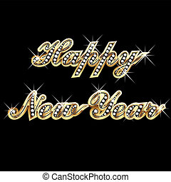ano, feliz, ouro, bling, novo