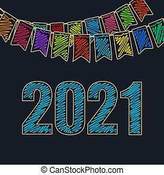 ano, fundo, festivo, novo, 2021