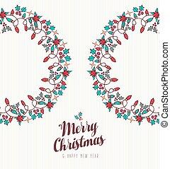 ano, grinalda, ornamento, mão, novo, desenhado, natal