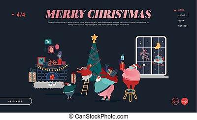 ano, natal, feliz, feliz, caráteres, presentes, xmas, decorando, segurando, claus, aterragem, site web, template., esquema, ilustração, montando, página, novo, feriados, santa, sledge., vetorial, árvore inverno